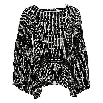 Laurie Felt Women's Blusa impresa superior w / Detalles de ganchillo negro A301666