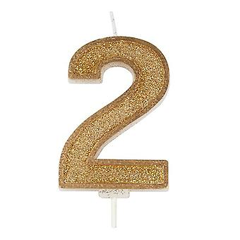 Gold Sparkle Numeral Candle - Number 2 - 70mm