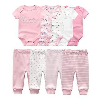 בגדי גוף מוצקים מכנסיים בגדים מגדיר בגדי תינוק יוניסקס כותנה שזה עתה נולדה