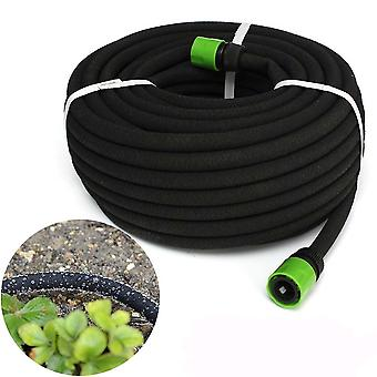 15m Black Porous Irrigation Soaker Hose Watering Dripper Pipe Lawn Garden Tool