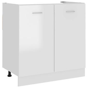 Sink Bottom Cabinet High Gloss White 80x46x81.5 Cm Chipboard