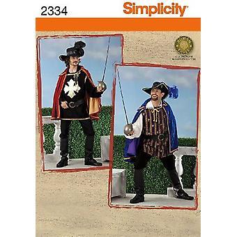 Yksinkertaisuus Ompelu kuvio 2334 Miesten Muskateer Puvut Koko XS-M