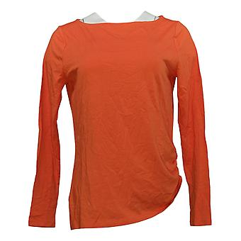 Anybody Women's Top Cozy Knit Luxe Long Sleeve Boat Neck Orange A392533