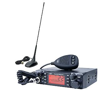 CB PNI ESCORT HP 9001 PRO ASQ radio station package adjustable, AM-FM, 12V, 4W + CB PNI Extra 48 antenna with magnet included, 45 cm, 150W, SWR 1.0