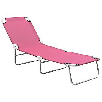 vidaXL Taitettava aurinkotuoli teräs ja kangas vaaleanpunainen