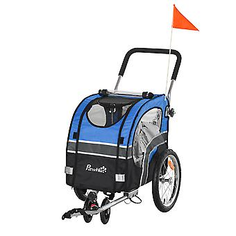PawHut 2-in-1 Dog Bike Trailer Pet Cart Carrier Stroller for Bicycle with 360° Rotatable Front Wheel Reflectors Weather Resistant Canopy Flag Blue
