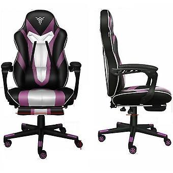 Pu Leather High Back Ergonomic Gaming Chair With Footrest And Lumbar Support