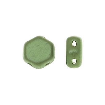 Czech Glass Honeycomb Beads, 2-Hole Hexagon 6mm, 30 Pieces, Pastel Olivine