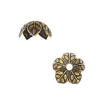 Nunn Design Bonnets de perles, 9mm Gravé Daisy Design, 4 Pièces, Or Antiqued