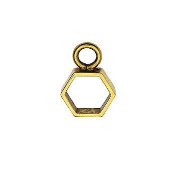 Pendentif open back bezel, Itsy Hexagon 10.5x15mm, Antiqued Gold, 1 Pc, par Nunn Design