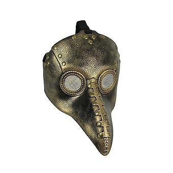 Metallisk Guld Pest Doctor Mask Crow Næb Maskerade Bird Nose Raven Cosplay