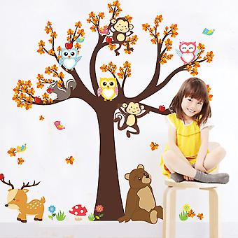 Regenboghorn Owl And Monkey Playing On Tree Wall Decal Sticker