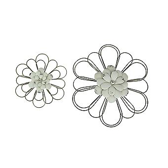 Set of 2 White Metal Flower Wall Art Rustic Hanging Home Decor Distressed Sculpture