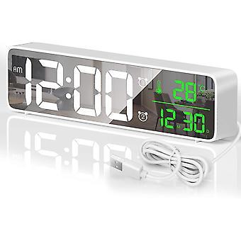 Digitale wekker, LED digitale klok spiegel wekker met 40 geluiden, temperatuur en datum, groot scherm helderheid aangepaste LED-wandklok, wit