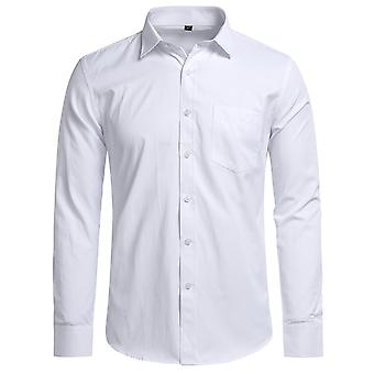 Yunyun Men's Lapel Solid Color Twill Business Long-sleeved Shirt