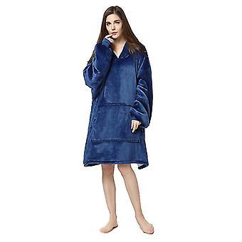 Naisten lämmin sherpa fleece hupullinen wrap over nightwear kylpytakki (sininen)