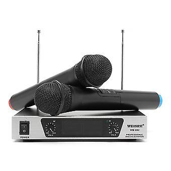 Weisre WM-09V VHF Wireless 2-kanaals Dual Handheld KTV Karaoke Home Party Microfoonsysteem