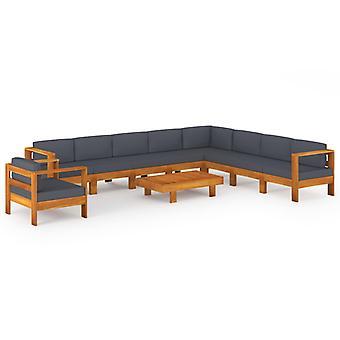 vidaXL 10 pcs. Garden lounge set with dark grey pads acacia wood