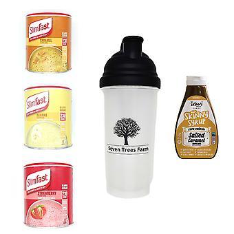 Seven Trees Farm Kit avec 5 produits | 1 x caramel, 1 x banane, 1 x shakes aux fraises, 1 x shaker et 1 x sirop de caramel salé, soyez maigre et en bonne santé!
