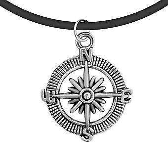 Svart läder sladd tibetansk silver charm choker hänge med kedja, kompass