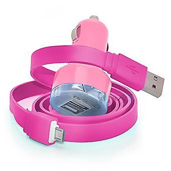 LG K8 (2017) bebé rosa en el coche dual puerto 2.1 amp Mini Bullet adaptador de cargador USB, incluyendo 1 cable de carga micro USB
