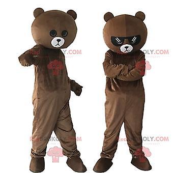 茶色のテディベアの衣装2個、テディベアの衣装