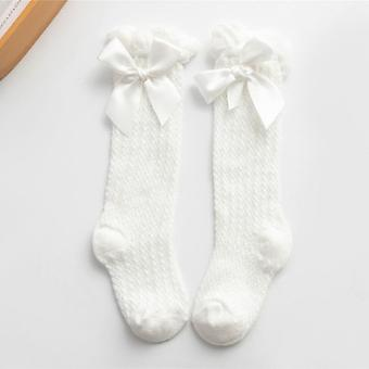 5 Pairs Children Girls Royal Style Bow Knee High Fishnet Socks.baby Toddler Bowknot In Tube Socks.kid Hollow Out Sock Sox 0-4y