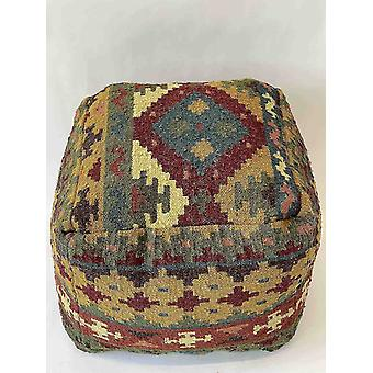 Ottomans spura home handmade knitted pouf-square wool pouf ottoman