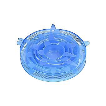 6 Stück Lebensmittel Silikon expandierbare Deckel für Schüssel, Topf, Universaldeckel, Küchenzubehör (Blau)