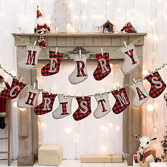 Merry Christmas Banner, Plaid Burlap Sock Shaped Christmas Streamer Banner Decoration For Fireplace Wall Tree