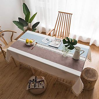 Rechteckige Tischdecke im Freien, Küchentischdecke, einfache Pompom Dekoration Tischdecke (braun und blau, 140 * 140cm)