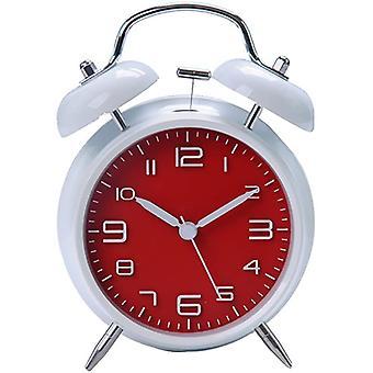 "4"" Quiet Non-ticking Silent Quartz Analog Vintage Bedside Twin Bell Alarm Clock(red)"