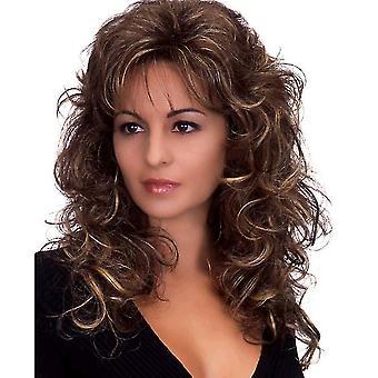 Fashion Ladies Long Curly Wig(Brown)