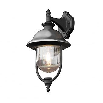 Konstsmide Parma Black And Steel Traditional Garden Downward Lantern