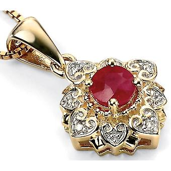 9 ct Gold With Ruby And Diamond Necklace