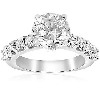 3 karat forbedret diamant engasjement halv evigheten Ring 14K hvitt gull