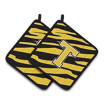Monogram Initial T Tiger Stripe - Black Gold Pair of Pot Holders