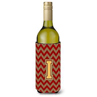De letter I Chevron granaat en goud wijnfles drank isolator Hugger