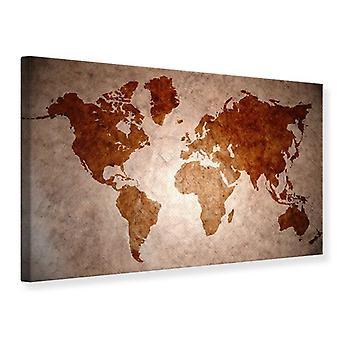 Lona impresión mapa de Vintage del mundo