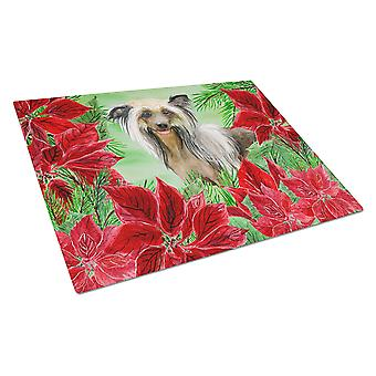 Chinese Crested Poinsettas Glass Cutting Board Large