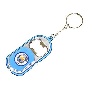 Manchester City FC Official Crest Design Bottle Opener Keyring With Torch