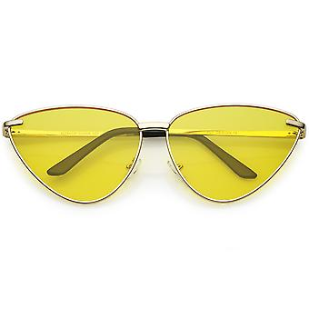 Oversize Cat Eye zonnebril dunne metalen Frame kleur getinte vlakke Lens 64mm