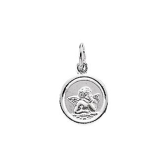 14k White Gold Round Religious Guardian Angel Pendant Necklace Medal 14.25 Jewelry Gifts for Women