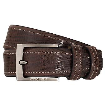 OTTO KERN belts men's belts leather belt reptile look dark brown 7014