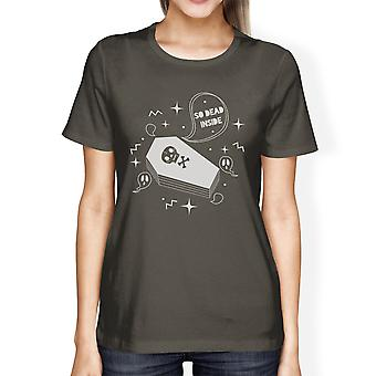 Dead Inside Coffin Funny Halloween Tshirts For Women Graphic Shirts