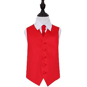 Red Plain Satin Wedding Vest & Cravat Set voor Jongens