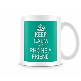 Bevare roen og telefon en ven trykte krus