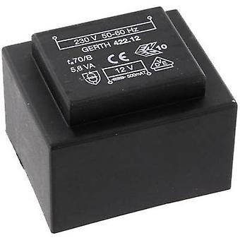 Gerth PTB422401 PCB mount transformer 1 x 230 V 1 x 24 V AC 5.60 VA 233 mA