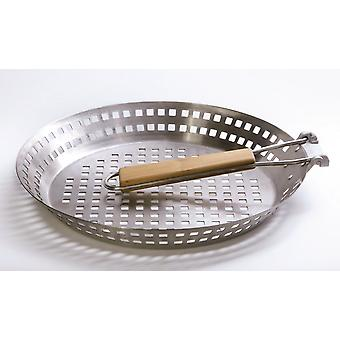 Grill Pan vegetable Grill basket stainless steel round Ø approx. 31 cm with folding handle