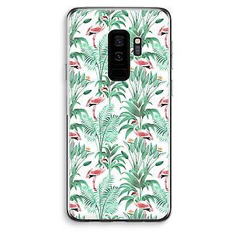 Samsung Galaxy S9 Plus läpinäkyvä kotelo (pehmeä) - Flamingo lehdet
